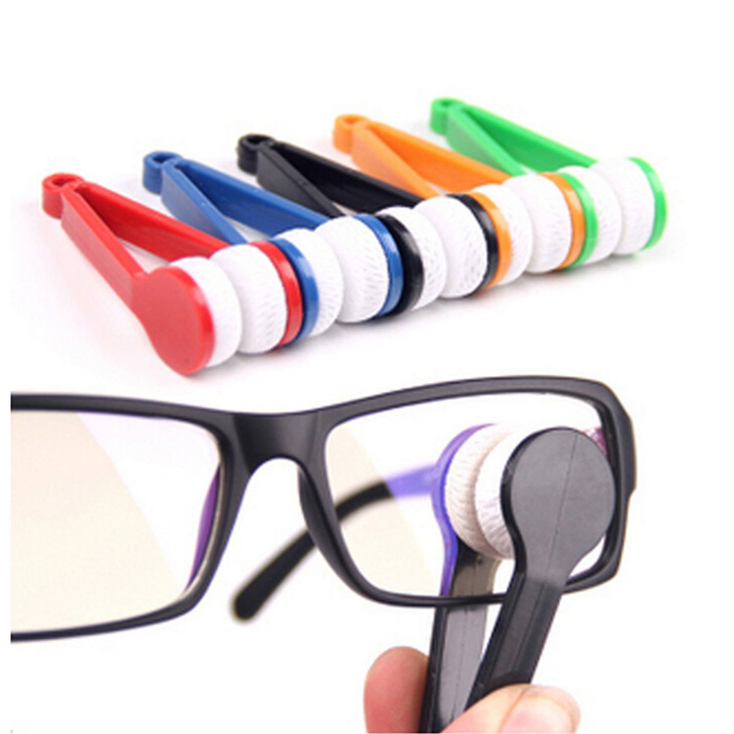 5 Pieces Mini Sun Glasses Eyeglass Microfiber Spectacles Cleaner Soft Brush Cleaning Tool