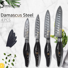Sowoll VG10 Damascus Steel Kitchen Knives Set Paring Utility Slicing Chef Fruit Meat Cleaver Black Color Wood Handle