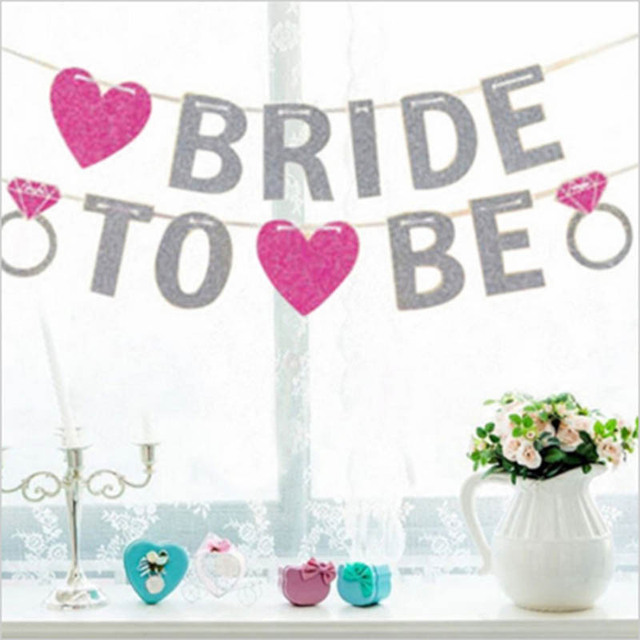 Heart Banner Bride To Be Bridal Bunting Hen Night Party Decoration Garland Wedding Shower