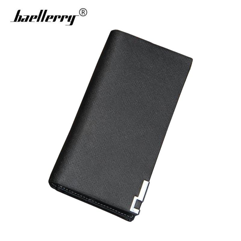 Baellerry Luxury Brand High Quality Leather Men Long Bifold Minimalist Wallet Purse Vintage Designer Male portomonee Slim Wallet