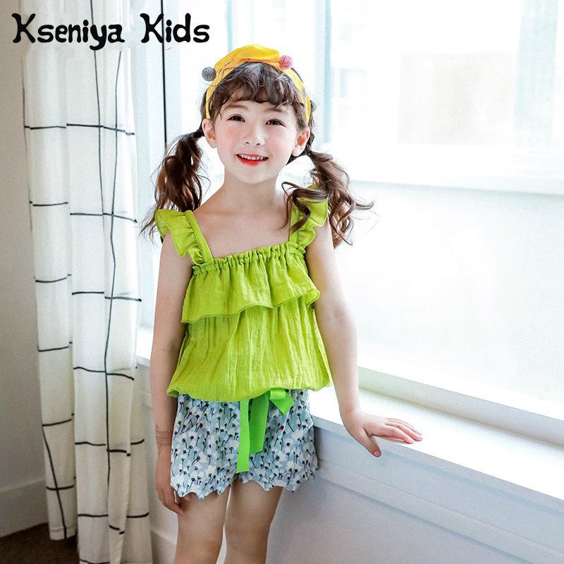 Kseniya Kids 2018 Summer Children Suit Korean Girl Lotus Leaf T Shirt Shorts Two Pieces Girl Clothing Brand 2 Piece Set Girl цены