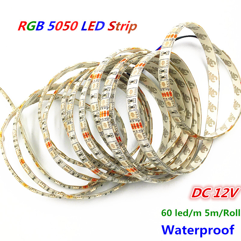 100m lot 60LED M SMD5050 RGB led Flexible strip lights waterproof IP65 DC12V 5M Roll RGB
