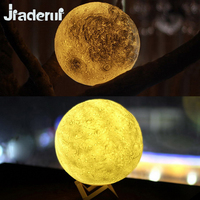 Jiaderui USB Rechargeable 3 Colors 3D Magical Moon LED Night Light Moonlight Table Lamp For Home