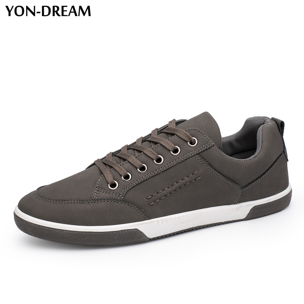 Yon-Dream Men Casual Shoes 2018 New Fashion Comfortable Flat Men PU Shoes Lace-up Solid Sapatos Masculino Footwear Hot bexzxed new brand fashion comfortable men shoes lace up solid leather shoes men causal huarache shoes hot sale