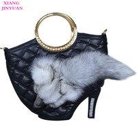 Ladies Handbags Black Graceful High End Fox PU Big Luxury Bag New Fashion Handbag 2017 Hot