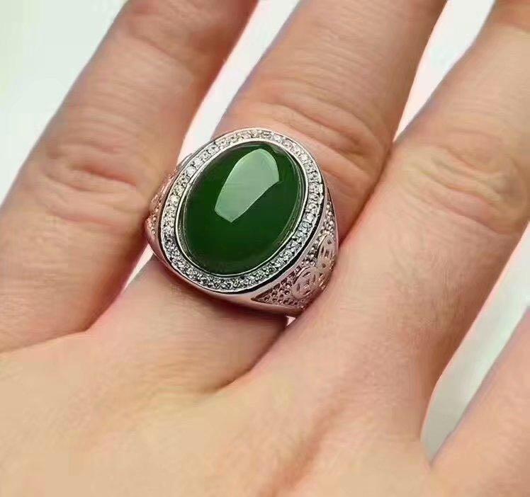 где купить Free shipping Natural Hetian Jade Man Ring 925 sterling silver Wholesales Fine jewelry 15*20mm gem по лучшей цене