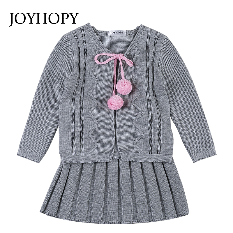 JOYHOPY Baby Girls Clothes Children Clothing Sets 2017 Kids Girl Tracksuits Costume Knitted Baby Girl School Outfits 1-6Y teenage girls clothes sets camouflage kids suit fashion costume boys clothing set tracksuits for girl 6 12 years coat pants