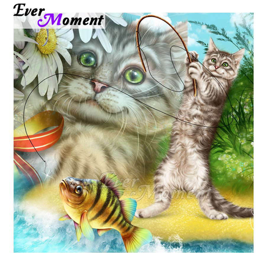 Ever Moment Diamond Painting 5D DIY Mountain Cat Fishing Handmade Picture Of Rhinestone Square Diamond Embroidery Mosaic 3F1067