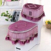 3Pcs Set High Grade Fashion Rural Fabric Lace Toilet Seat Cover Tank LIDS Sit Implement Coat