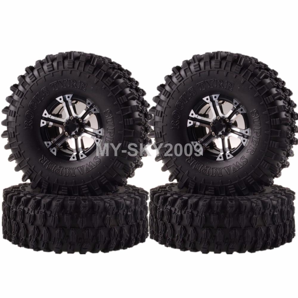 4pcs Rock Crawler Beadlock Aluminum Wheel Rims & 120mm Swamper Tyre 1062-7037 For 1:10 RC Model Off-Road Car CC01 D90 SCX10 HSP 4pcs wheel rims