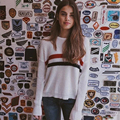 Women Knit Retro-Inspired Sweater Two stripes Pullovers Loose Knit Tops