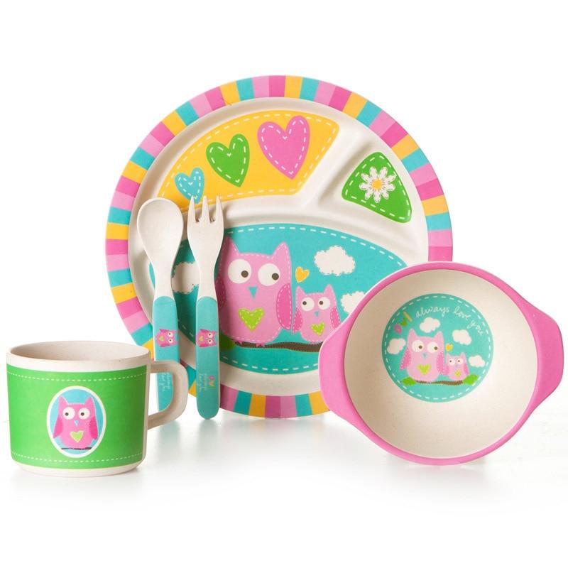 5 pièces/ensemble dessin animé enfants bol assiette bambou fibre vaisselle bébé vaisselle ensemble environnement dîner vaisselle