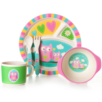 5pcs/set Cartoon children bowl plate bamboo fiber tableware Baby tableware set environmental dinner Tableware