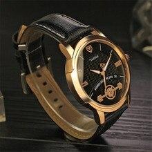 Reloj de Los Hombres de Moda Marca YAZOLE dial redondo Falso de engranajes de Relojes de lujo de los hombres negro marrón hebilla De Cuero correas de reloj de Cuarzo de los hombres reloj