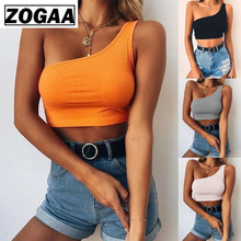 Women Summer Tank Tops Orange Solid Color Bralette Top Sexy One Shoulder Bustier Bra Tank Top Shirt Women Clothes Sexy Top ZOGAA solid color cotton tank top