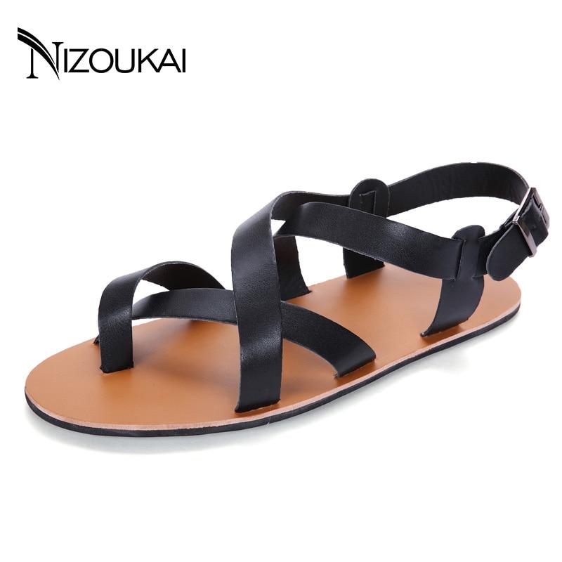 men sandals Casual Summer Beach Leather Ankle Strap Cross-tied Gladiator Shoes Roman Men Sandals sandalias hombre