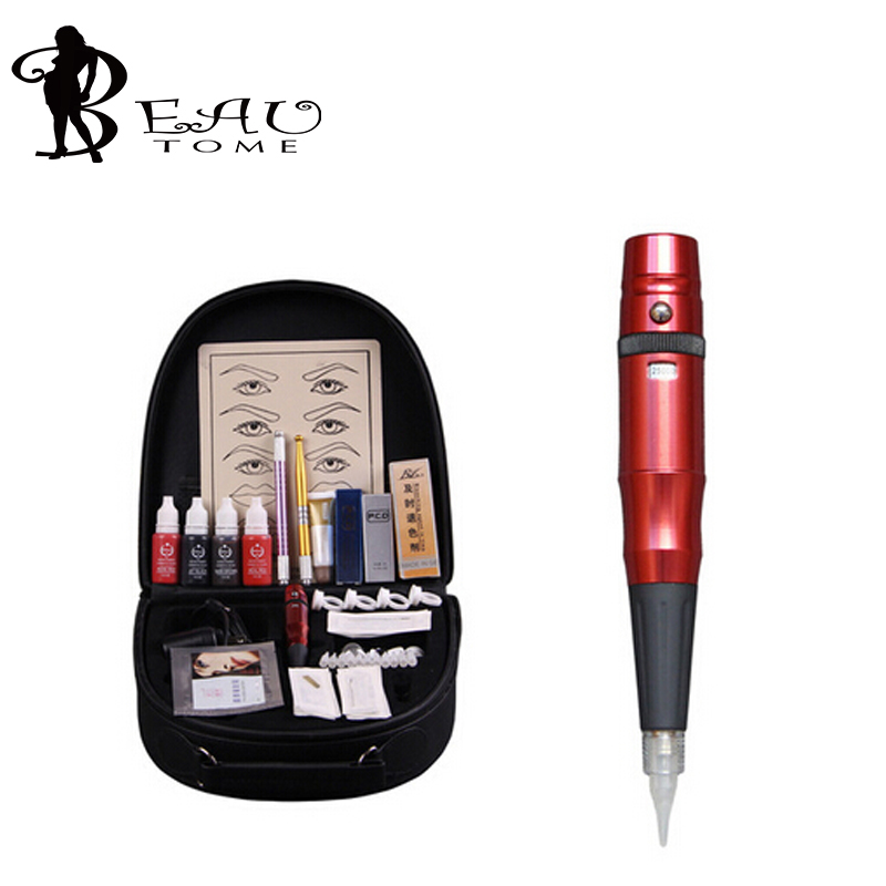 Beautome 2016 Permanent Makeup Pen Tattoo Eyebrow Lips Cosmetic Machine Kits Needles Tips Ink Permanent Tattooing For Adult Red wm01 professional eyebrow tattooing machine kit