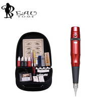 Beautome 2016 Permanent Makeup Pen Tattoo Eyebrow Lips Cosmetic Machine Kits Needles Tips Ink Permanent Tattooing For Adult Red