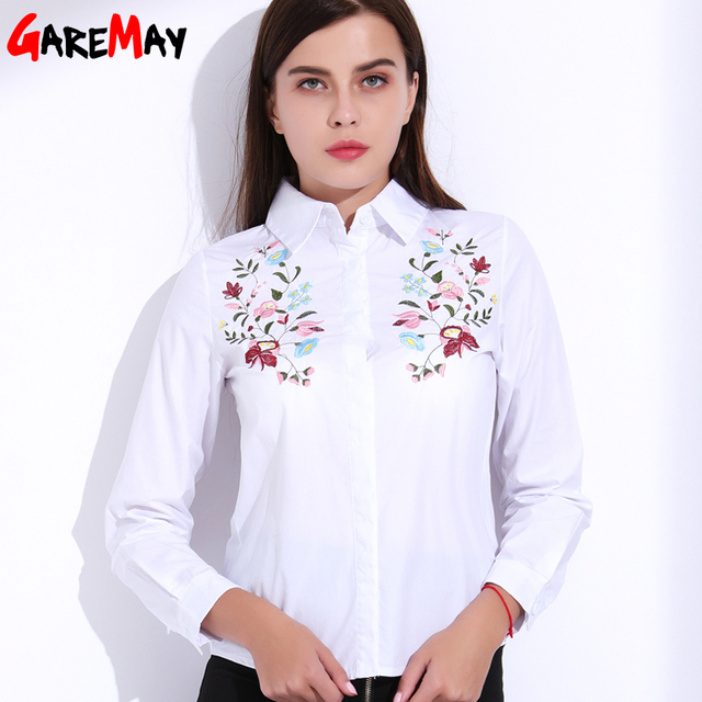 18af96b41bc Embroidery Blouse White Shirt Women Long Sleeve Plus Size Clothing Women s  Embroidered Shirts Cotton Shirt Female