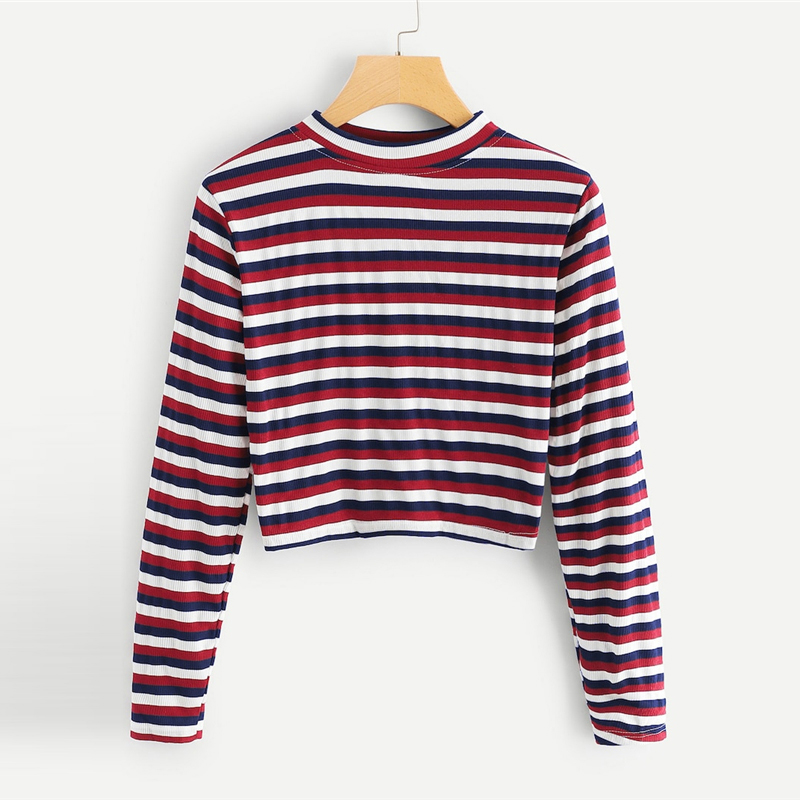 2eda9d6e9 ROMWE Striped Crop Tee 2019 Cool Round Neck Fashion Womens Clothing Long  Sleeve Casual Spring Autumn T Shirt Women Top