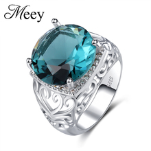 Best selling jewelry standard 925 Sterling Silver Lady classic ring high quality fashion green gemstone anniversary gift party