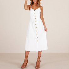 Summer Women Dress 2018 Vintage Sexy Bohemian Floral Tunic Beach Dress Sundress Pocket Red White Dress Striped Female Brand Ali9