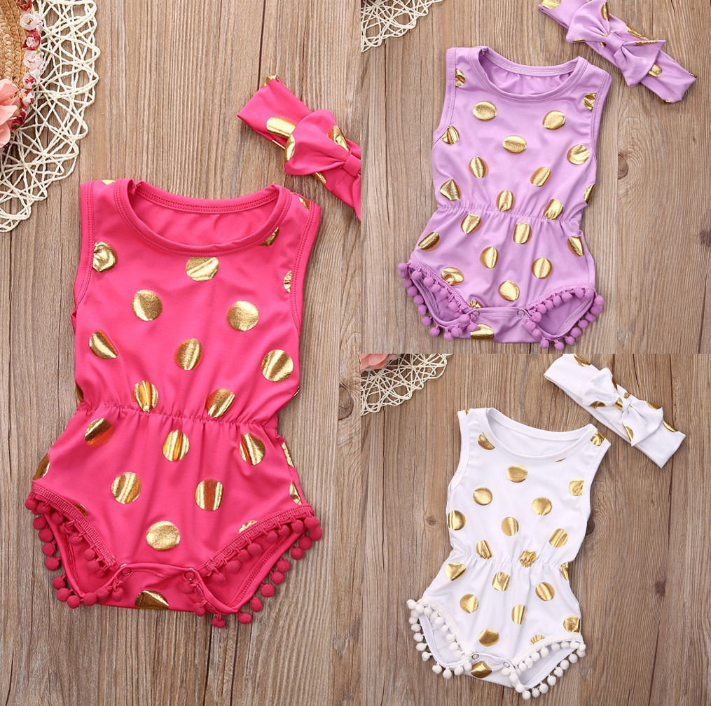 2 Pcs Newborn Baby girls Polka Dots Bodysuits onesie+Headband Infant Babies Kids Tassel Bodysuit one-pieces Outfits Kids Clothes