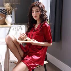 Имитация шелка Летние Женские однотонные пижамы с коротким рукавом Кардиган Повседневная мягкая одежда для сна эластичный пояс шорты