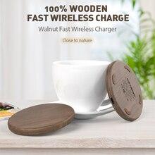KEYSION 10W Qi Fast Wireless Charger for iPhone XS Max XR 8 Plus Wireless Charging Wood Desktop Pad for Samsung S10 Xiaomi mi 9
