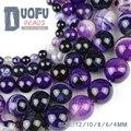 Violeta Ttripe banded ágata beads Pedra Natural Roxo Ágata Onyx Rodada contas Loose 4/6/8/10/12 MM fit fazer Jóias pulseira DIY