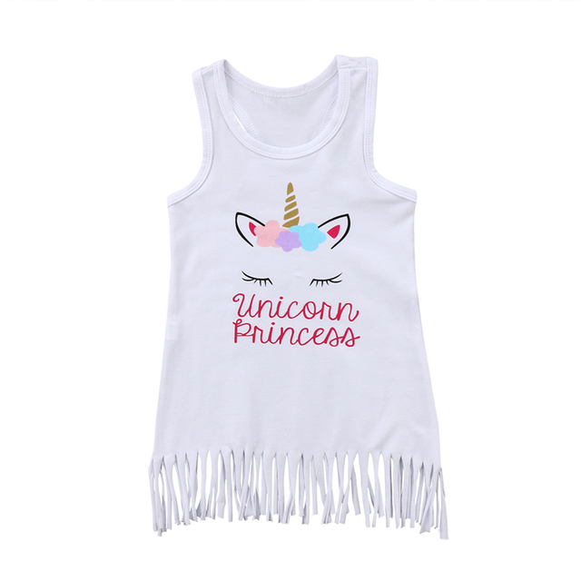 19d46cf9e4d0d US $3.73 19% OFF Girls Dress Unicorn 2018 Summer Toddler Kids Baby Girl  Tassel Dress Sleeveless Party Tank Tops Vest Outfits Children Clothing-in  ...
