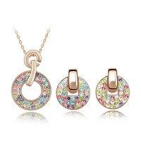 Grande vente De Noël cadeaux femmes ensemble de bijoux réel Autrichien multi cristal de Swarovski rose or pour le nouvel an
