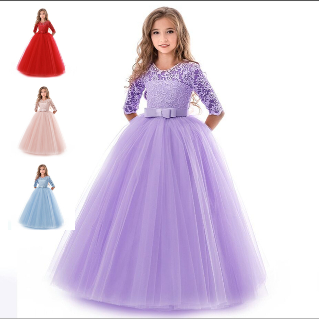652e9876b47ad US $15.38 23% OFF|Teenage Dress For Girls Solid Long Sleeve Princess  Elegant Costume Flower Girls Wedding Party Girls Clothes Birthday Vestidos  -in ...