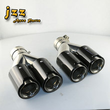 JZZ 1set Auto the dual Straight cut exhaust pipe on car stainless steel /// M muffler tips for 63mm inlet with clamp