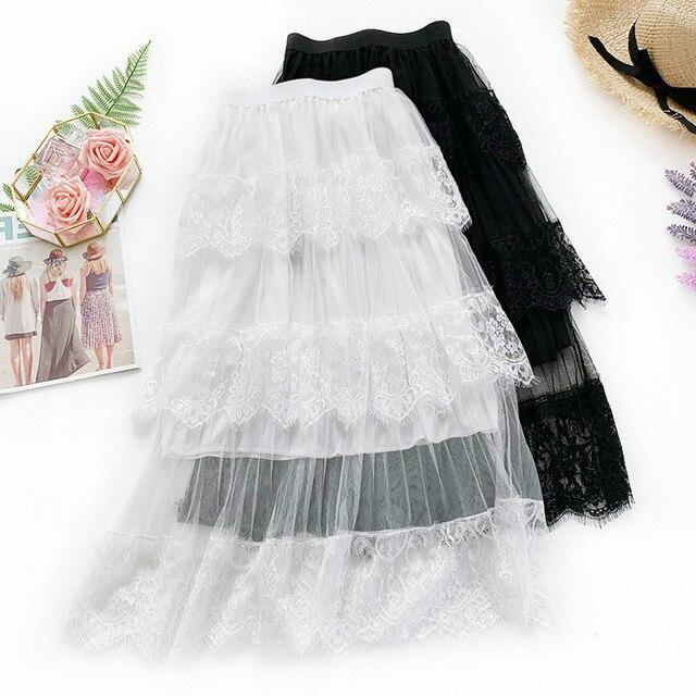 0844ba091 AcFirst primavera moda mujer falda negra alta cintura encaje volantes  plisado hasta el tobillo Falda larga de gasa transparente