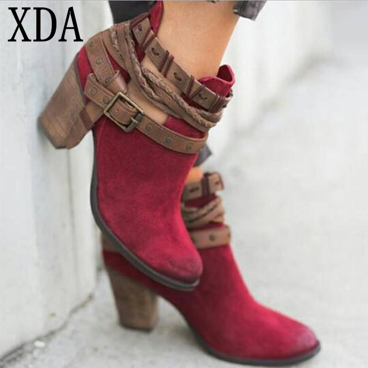 b08cea172f53f XDA 2019 Women shoes Spring Autumn Ankle Short boots Casual Weaving buckle  Leather High Heel Martin