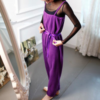 Michelle Dance Sling Siamese Ballet Purple Black Trousers Best Stretch Material