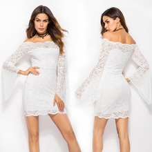 Sweet sexy Lace White Mini dress solid sheath bat sleeve empire slash neck off shoulder beautiful great fabric princess dress pink off the shoulder bat sleeves mini dress