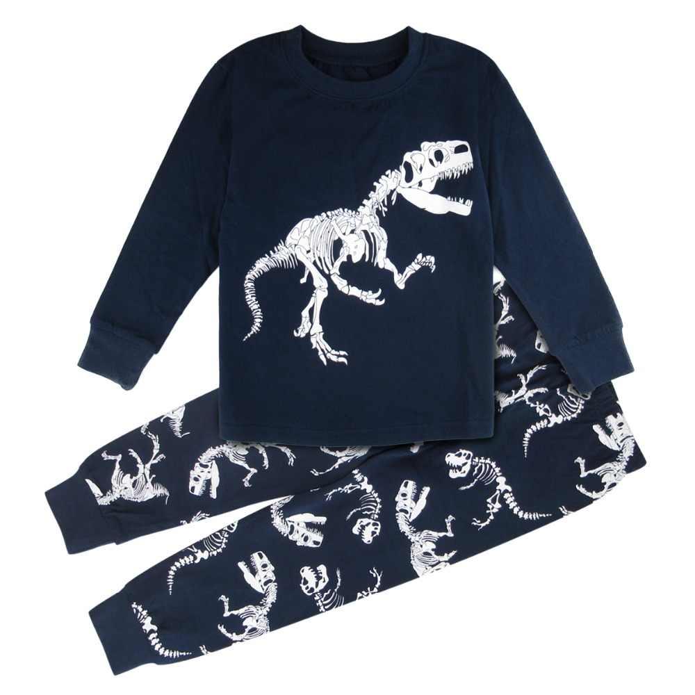Детские пижамы для мальчиков Пижама с динозавром мотоциклетные ребенок  пижамы Детская домашняя костюм домашняя одежда Рождественский 66fddf8b48b0b