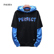 FALIZA New Spring Mens Hoodies Pullover Fake Two Pieces Hoodie Long Sleeve Hoodie Letter Printing Casual Male Sweatshirts WY116 цена 2017