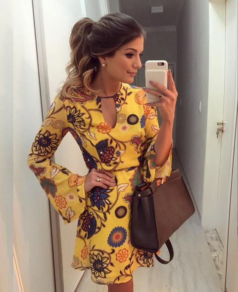 Nova chegada de impressão amarelo com decote em v manga flare vestido de festa moda feminina vestidos sexy club party dress elegante magro vestidos