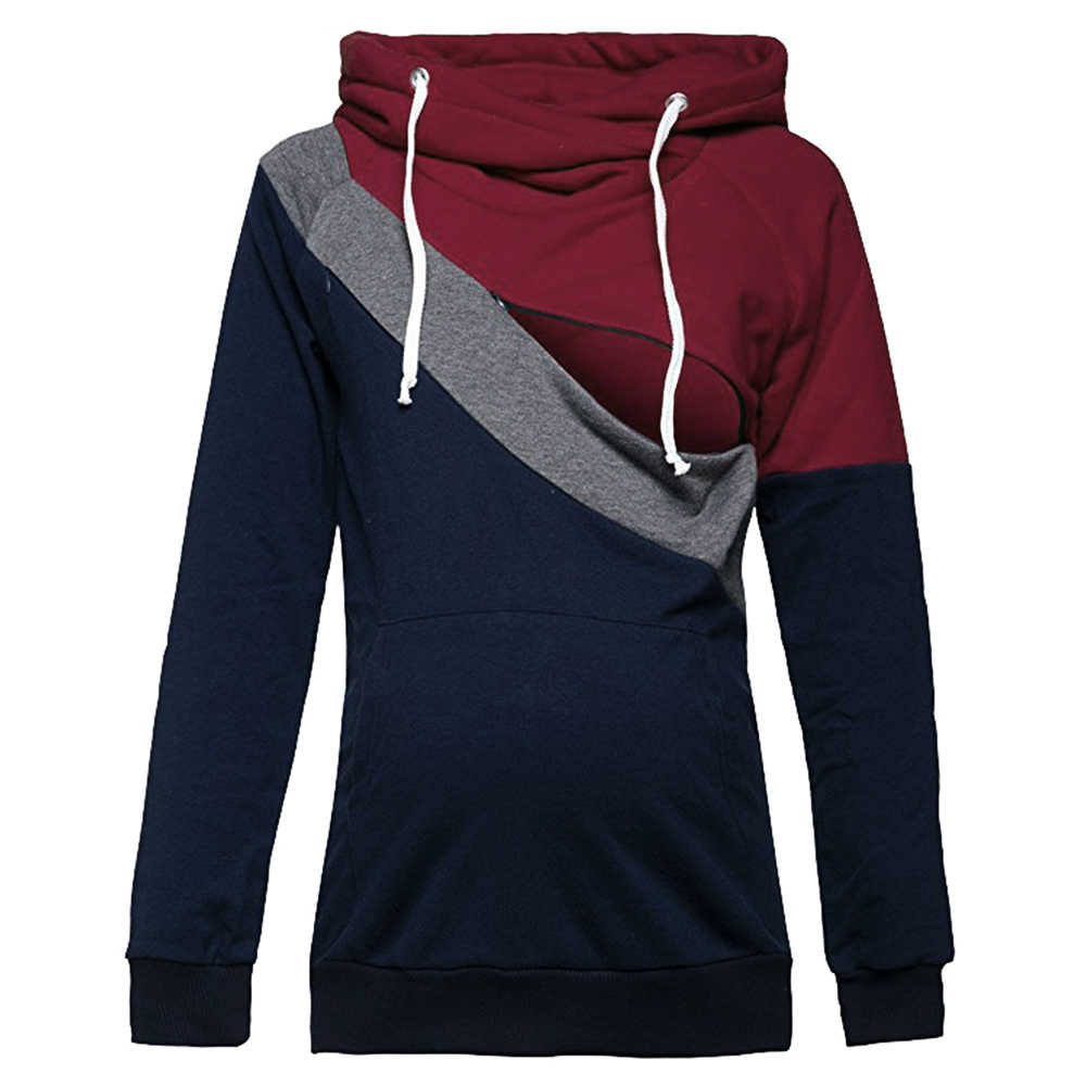 0a8ea7e51d543 ... Plus Size Pregnancy Nursing Long Sleeves Maternity Clothes Hooded Breastfeeding  Tops Patchwork T-shirt for