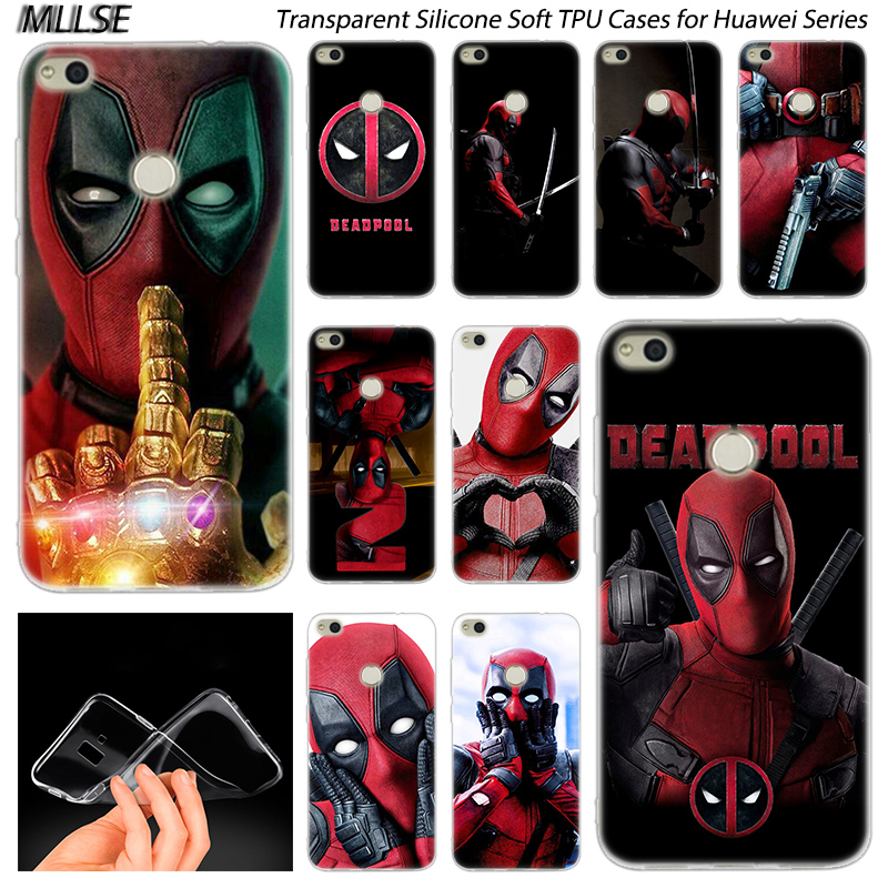 Hot <font><b>MARVEL</b></font> Hero Deadpool Silicone <font><b>Case</b></font> for Huawei NOVA 3 3i 4 <font><b>Honor</b></font> 7A Pro 7S 6X 7X 8X 8 <font><b>9</b></font> 10 <font><b>Lite</b></font> Play View 20 Fashion Cover image
