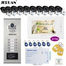 "JERUAN 7"" Video Doorbell Intercom system Kit RFID Access Entry Security Kit For 10 Apartment Camera +10 CCTV Analog Cameras"