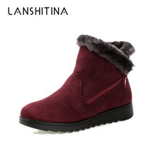 Women Snow Boots 2019 Fashion Women Winter Ankle Boots Zipper Warm Fur Shoes Antiskid Waterproof Flexible Mother Casual Boots(China)