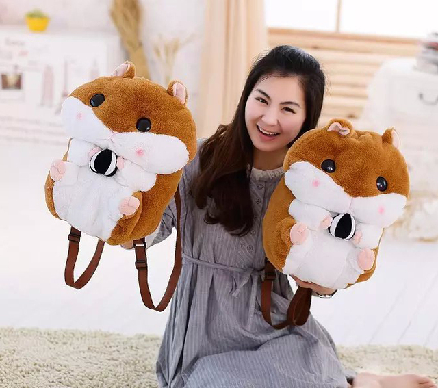 1 PC Bonito Dos Desenhos Animados Super Q Gordinho Hamster Esquilo Brinquedo De Pelúcia Mochila Boneca Bolsa de Ombro Adorável Presente de Aniversário