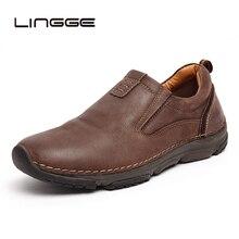 LINGGE/Новинка года; мужская повседневная обувь из натуральной кожи; мужские лоферы на плоской подошве; брендовые мягкие мужские мокасины; дышащая мужская обувь