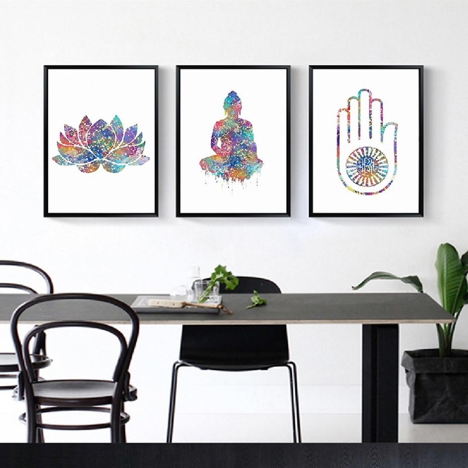 Watercolor Buddha Art Spiritual Free Spirit Yoga Spa Hand Canvas Paintings Wall Art Pictures Poster Print Living Room Home Decor