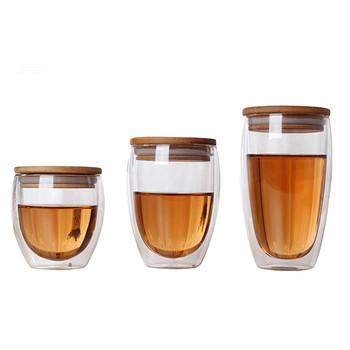 Podwójna ścianka szklana filiżanka do herbaty kubki do kawy przezroczyste okulary izolacyjne kubki z bambusowa pokrywka kreatywny Vaso Caneca piwo wino Verre tanie i dobre opinie VINRITO Przezroczysty C027 Ce ue Lfgb Ekologiczne Zaopatrzony Szkło ROUND coffee cup glass Mugs Glasses transparent Cerveja