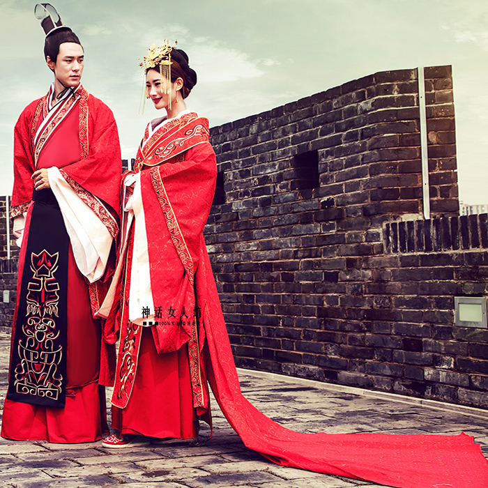 Chinese style wedding hanfu dress red gorgeous SuZhou embroidered train costume lovers design China Royal Couple Clothing Outfit mattress